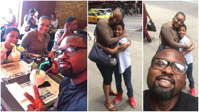 Daniel Ademinokan tells people not to believe what the read as he shares photos with ex-wife Doris Simeon and son