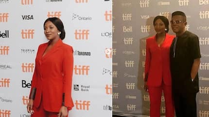 Genevieve Nnaji turns heads in the red outfit she wore for her movie premiere (photo)