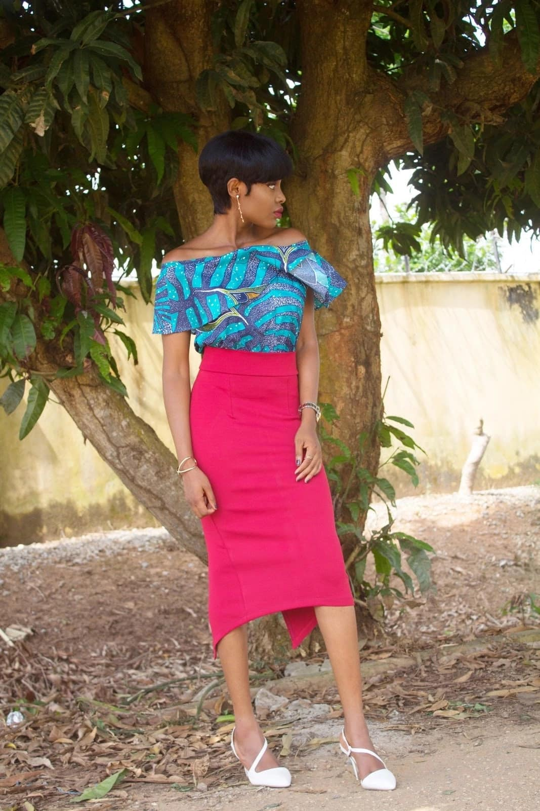 Cold shoulder Ankara top for office style