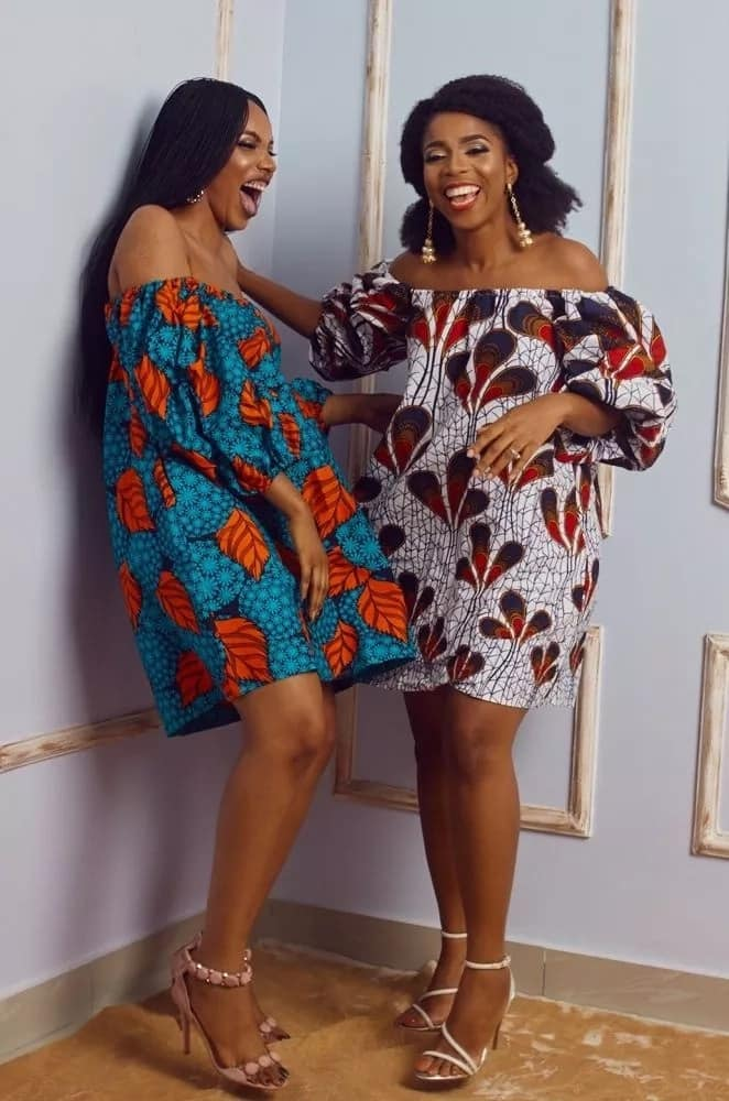 Off shoulder Ankara short gowns with sleeves
