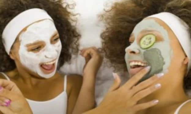 girls with masks on faces