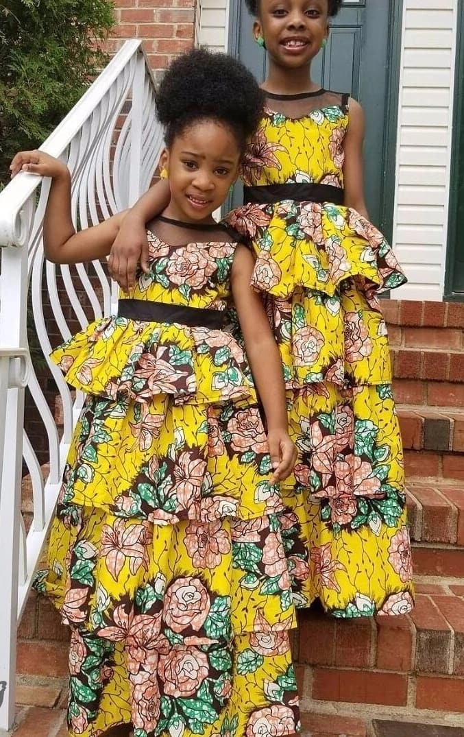 Ankara evening styles for girls with frills and chiffon
