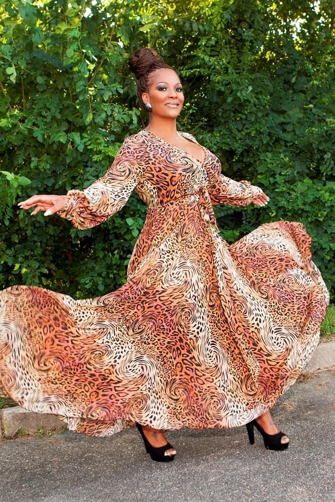 Chiffon flared maxi gown with leopard print