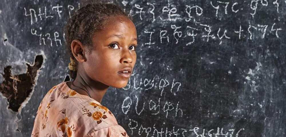 girl at the blackboard