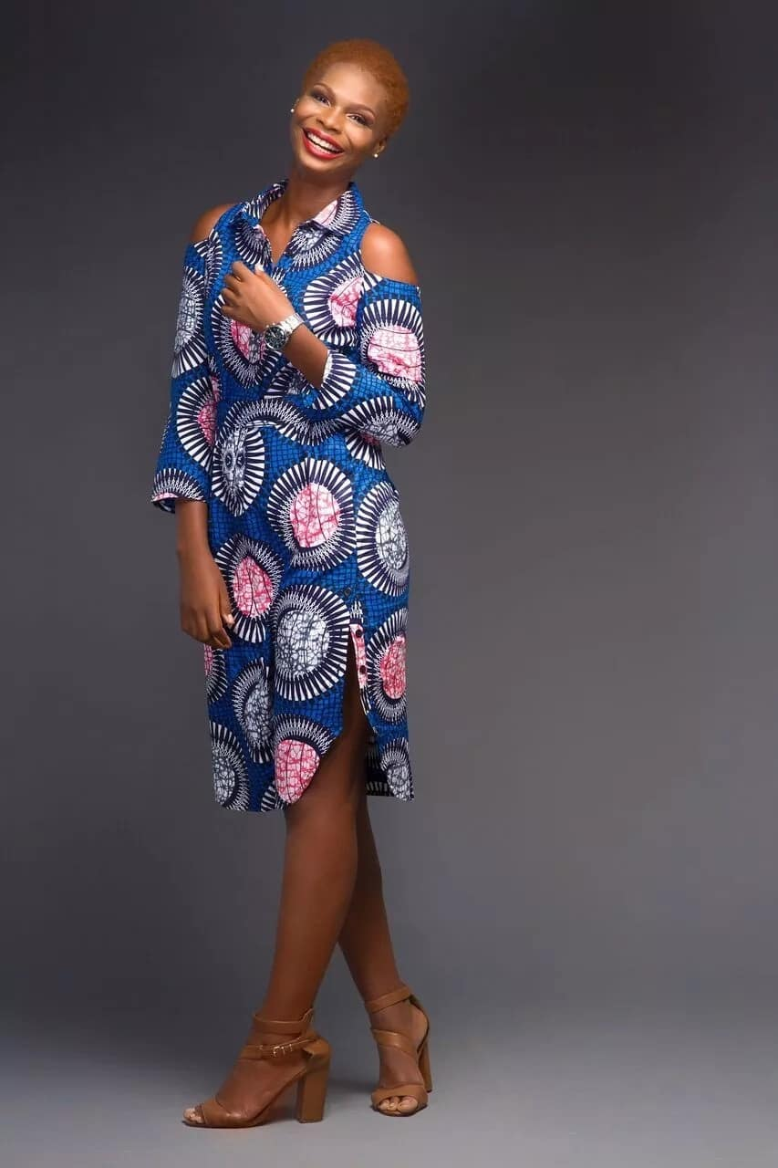 Ankara shirt dress with round cutouts on the shoulders