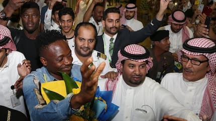 Excited Super Eagles superstar Musa reacts after getting a heroic reception in Saudi Arabia