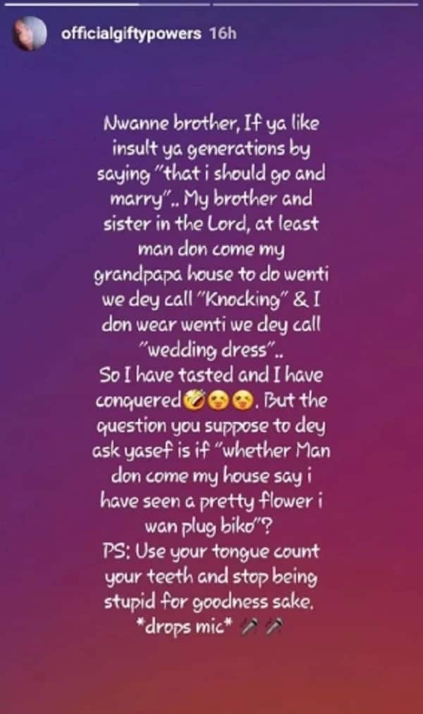 BBNaija's Gifty Powers responds to people asking her to 'go and marry'