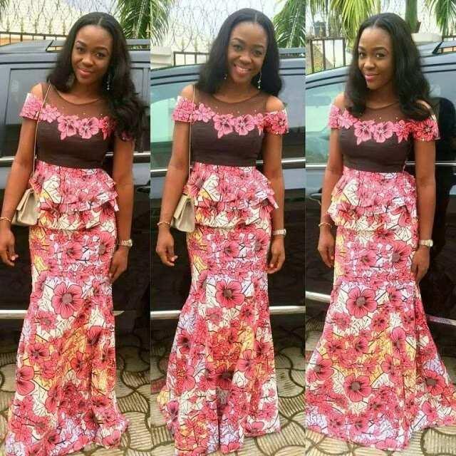 Ankara skirt and blouse - lace