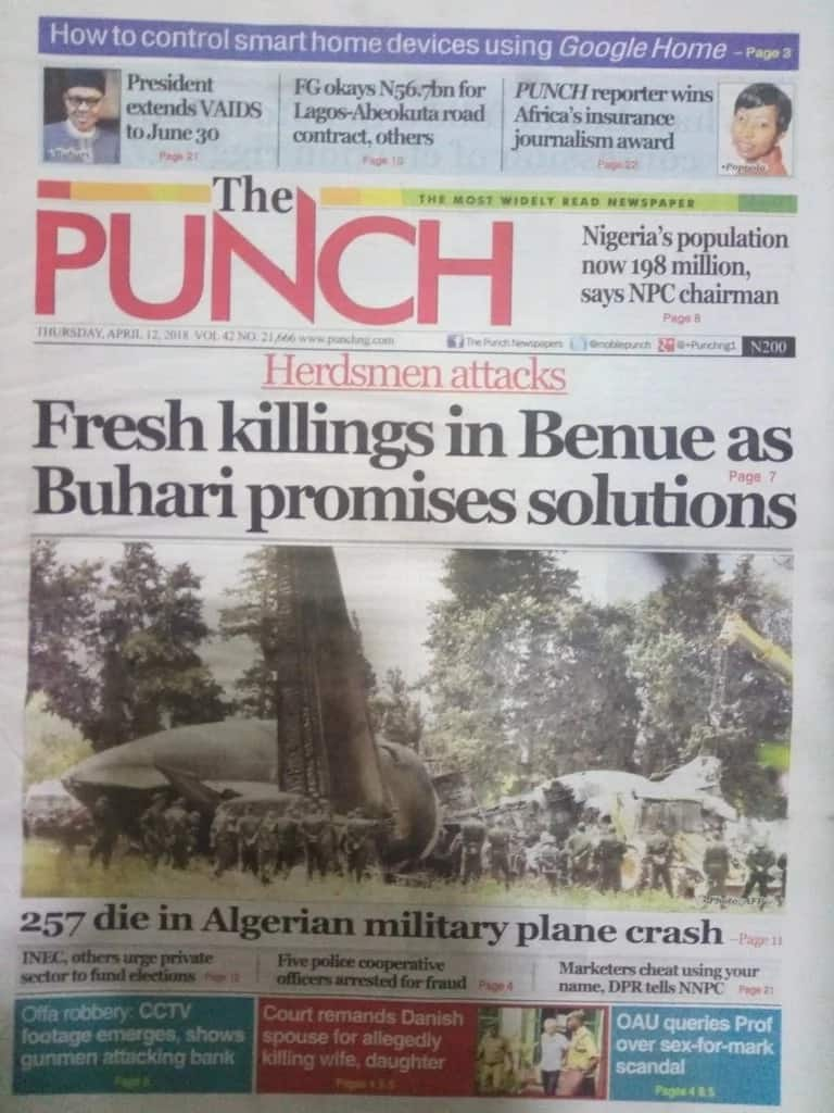 The Punch newspaper for Thursday, April 12. Photo credit: snapshot from Legit.ng.