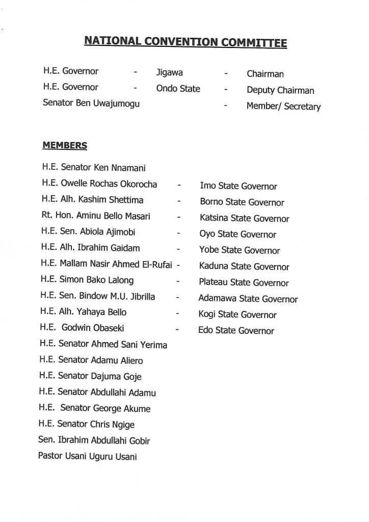 Just in: APC unveils list of national convention committee members