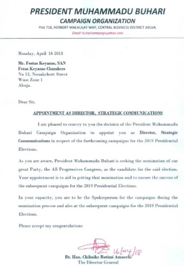 Breaking: Festus Keyamo appointed as spokesperson for 2019 Buhari campaign