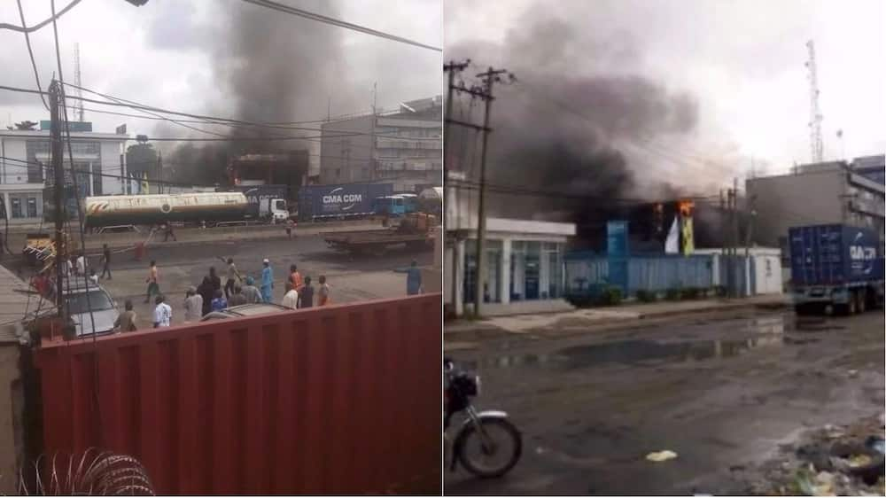 BREAKING: Riot rocks Apapa as policeman shoots tanker driver dead