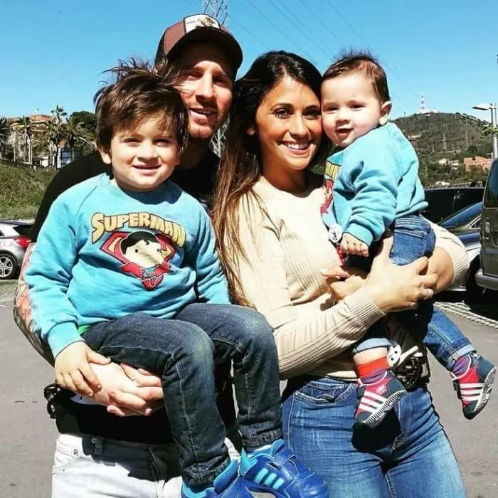 Lionel Messi, Antonella Roccuzzo with their sons