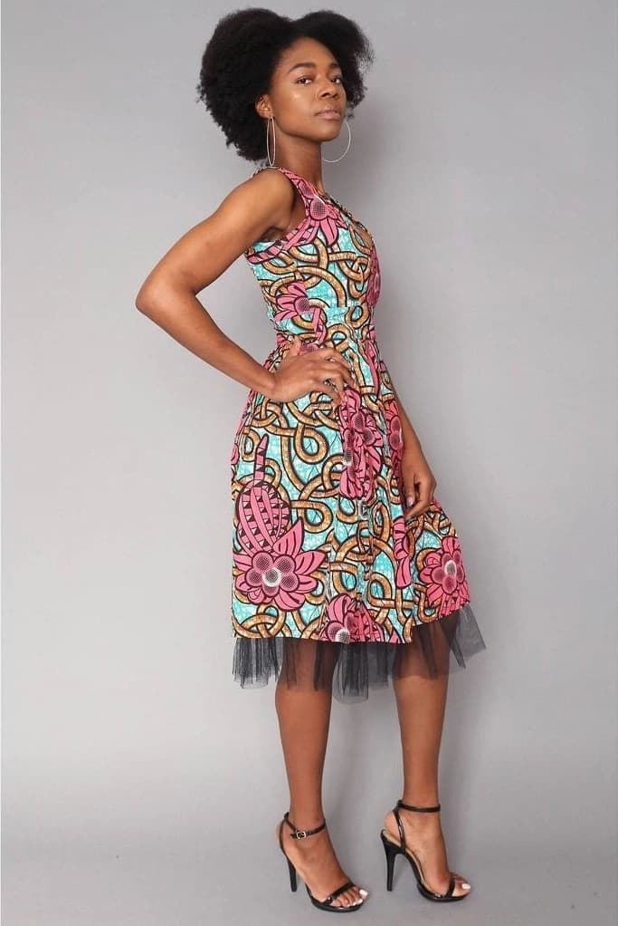 Ankara midi gown with floral pattern