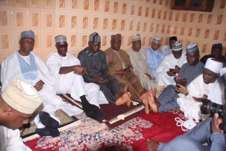 Ahmed, Ortom, Wike others at the Firdau prayer. Photo source: New Telegraph