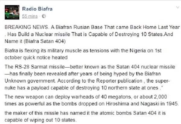 No Nigerian scientist made any nuclear missile for pro-Biafran agitators (see evidence)