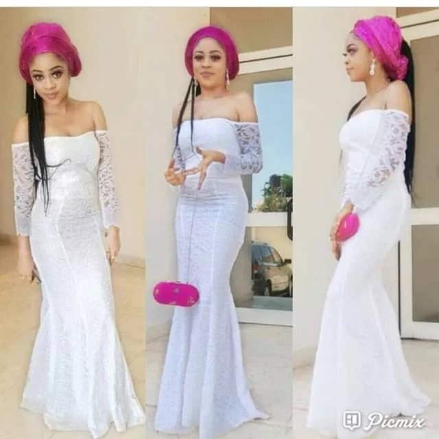 Bella Naija cord lace gowns with sleeves