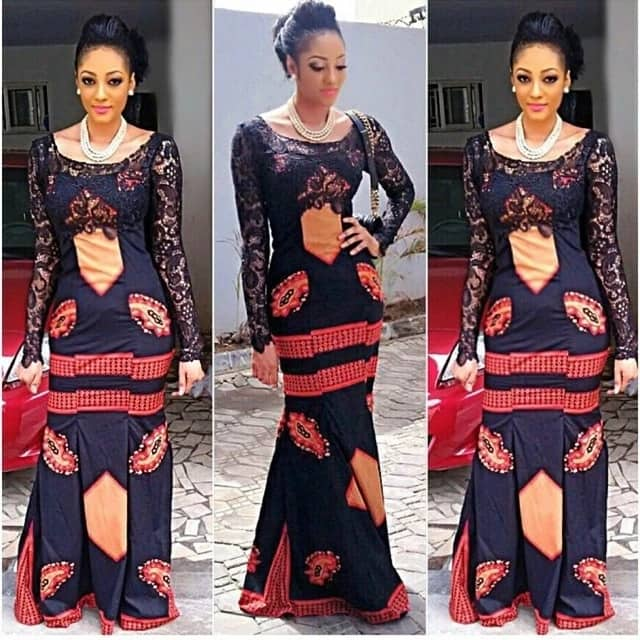 Ankara gown with long lace sleeves