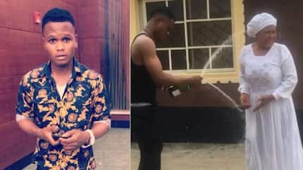 Young Nigerian man celebrates his mum on her birthday by pouring champagne on her