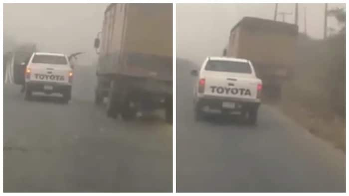 Police combat robbers on Sagamu expressway, shoot at a moving truck (video)