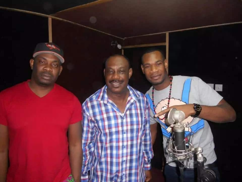 Collins Enebeli with his sons: Don Jazzy and D'Prince