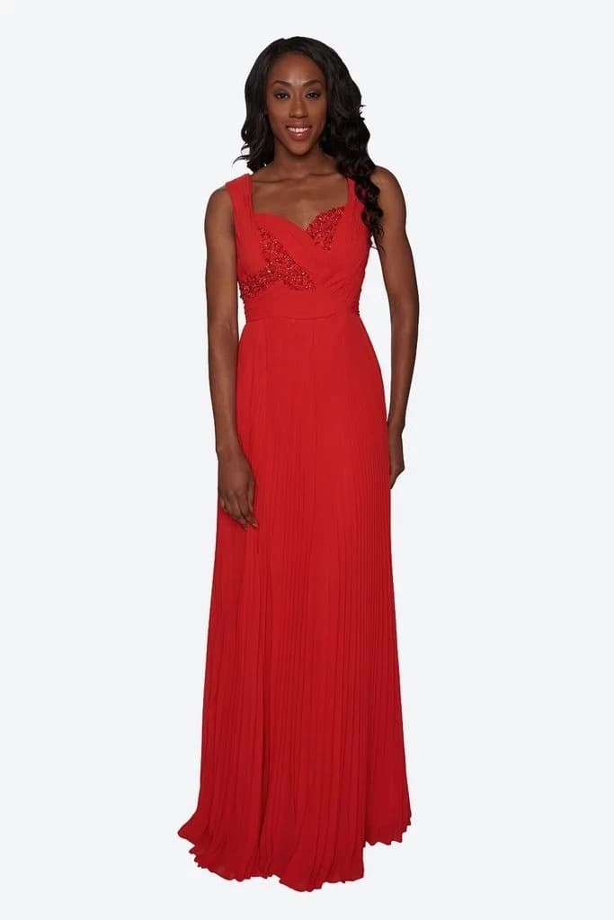 Chiffon festive gown with beaded decor