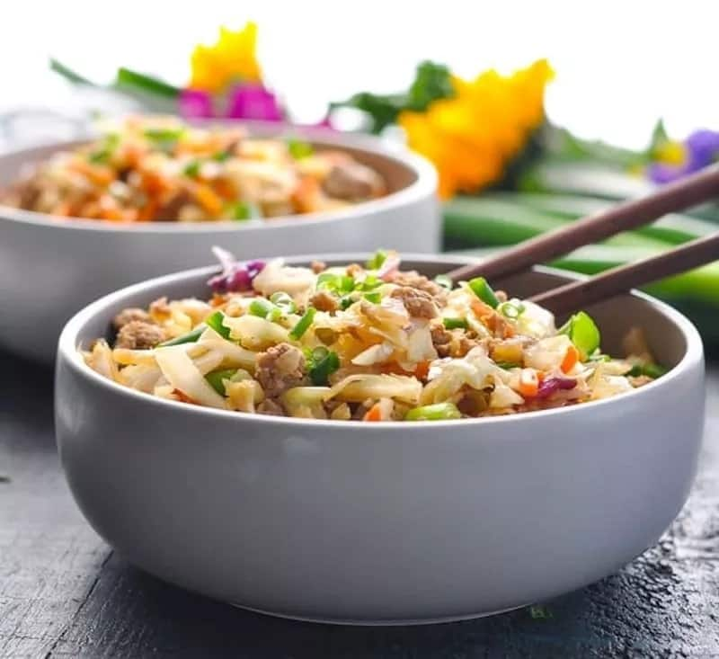 A tasty recipe for egg roll in a bowl