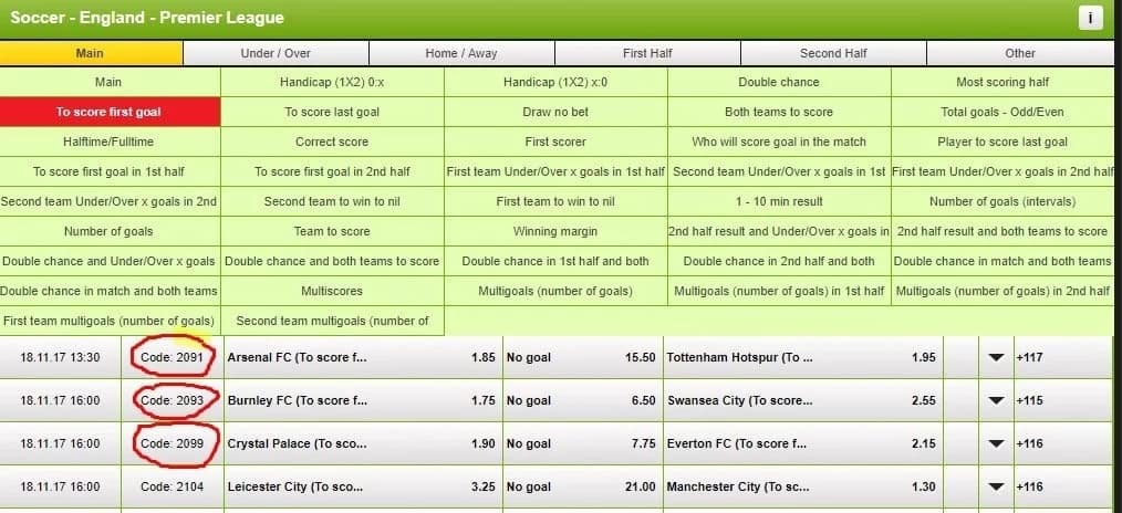 NairaBet Codes and Odds