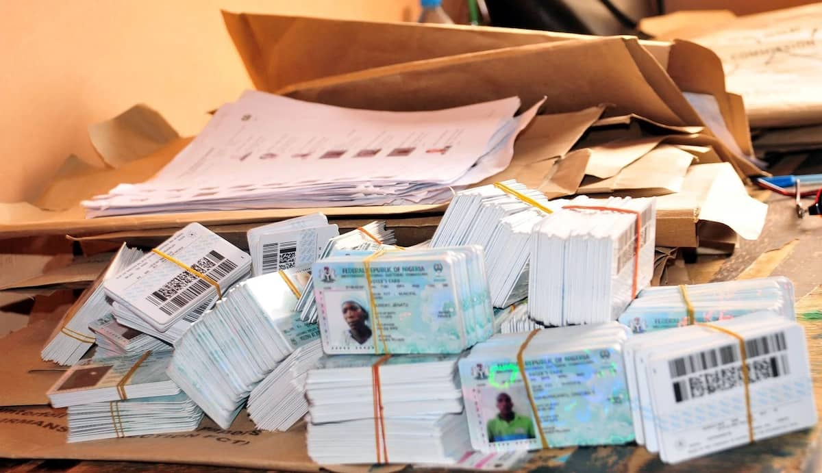 INEC voters cards on the table