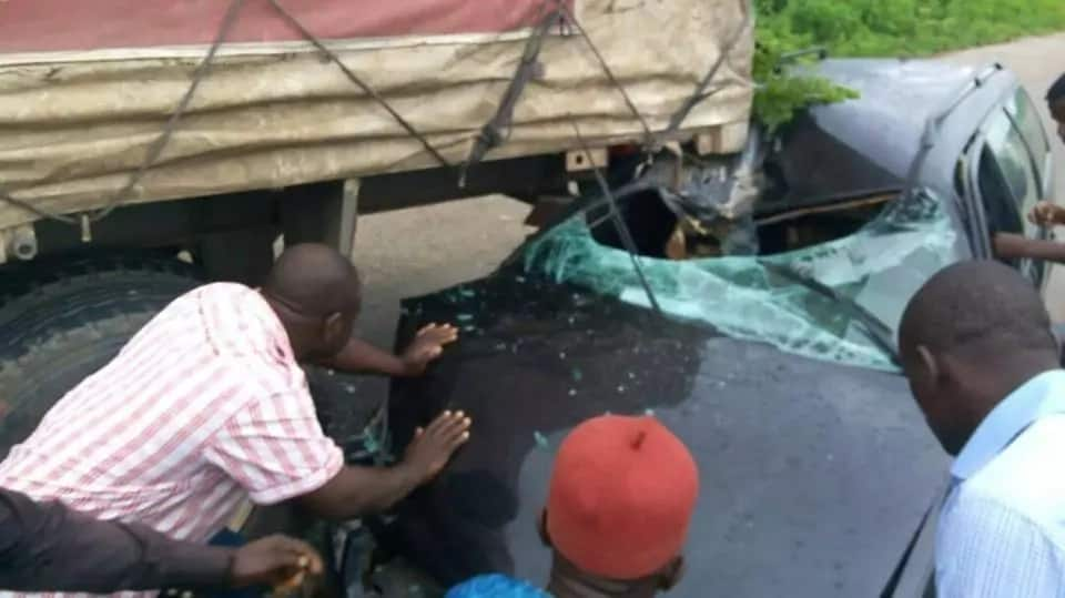 Couple Came Out Unharmed From This Accident On Their Way From Abuja. Photos