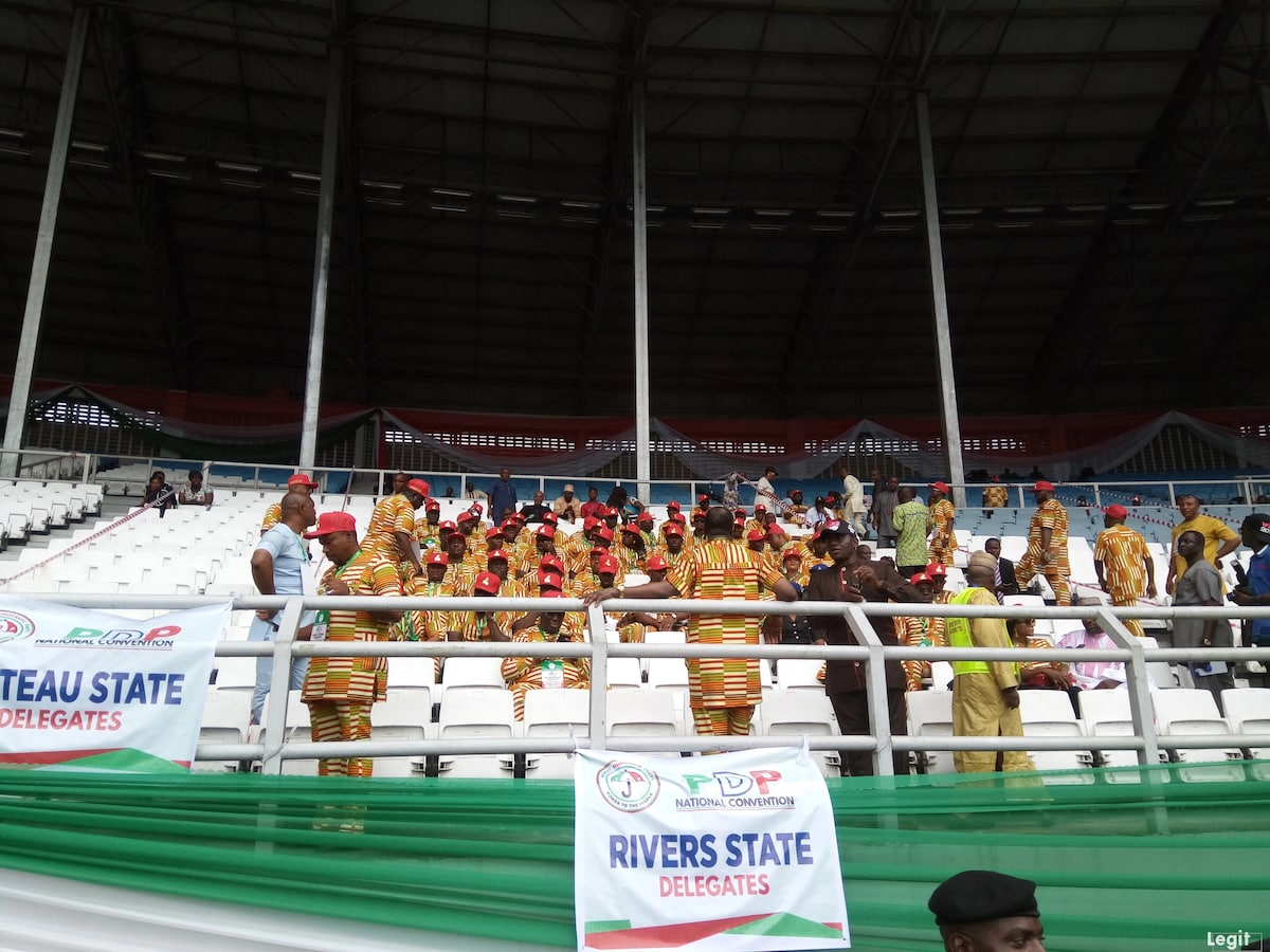 Live updates of PDP national convention holding in Port Harcourt. Source: Original