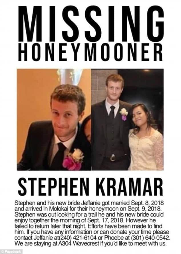 27-year-old groom who went missing on his honeymoon
