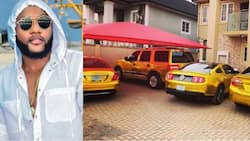 Bullion squad! Nigerian singer Kcee shows off fancy cars painted in gold