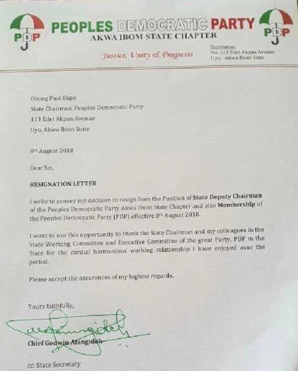 Afangideh's resignation letter. Photo source: Nairaland
