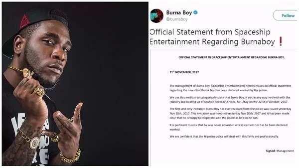 Burna Boy's management releases official statement regarding