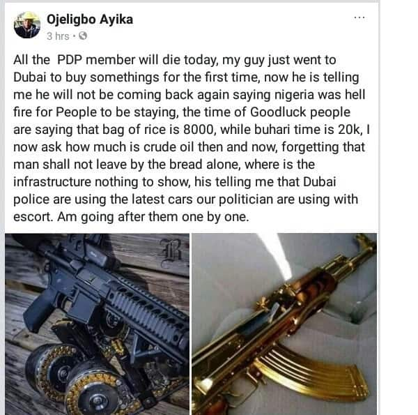 Angry Nigerian youth threatens to go after Nigerian politicians on Facebook