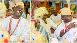 After ex-wife's family returned bride price, Ooni of Ife all smiles in fresh photos from Abuja event