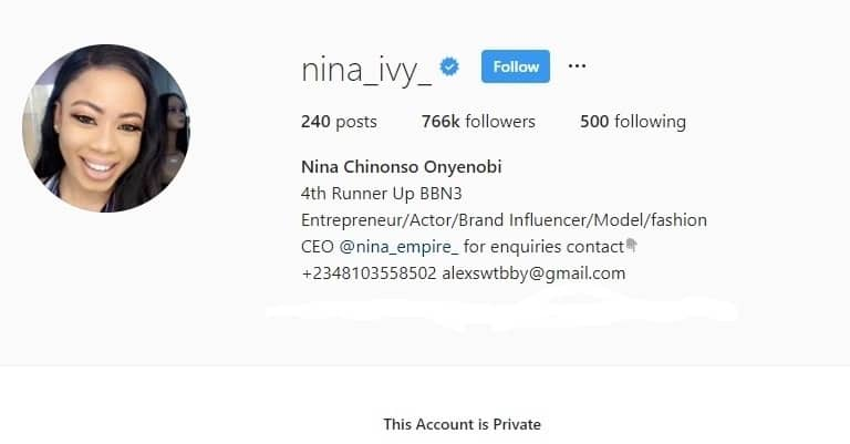 Nina turns her Instagram page on private hours after having issues with Bobrisky