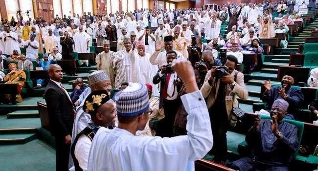 The legislators after president Buhari presented the budget. Photo source: Channels TV
