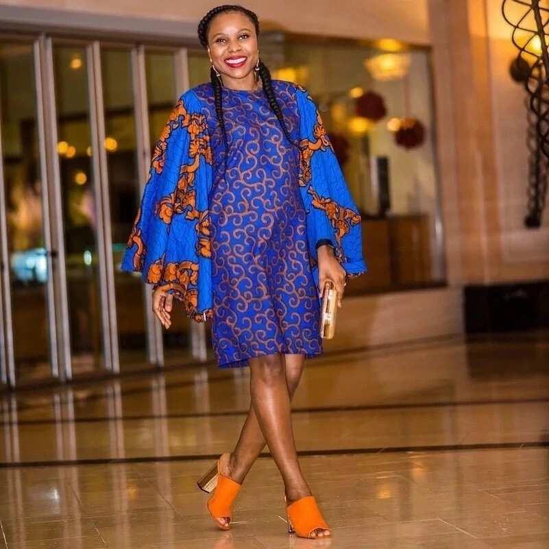 Latest Ankara styles for pregnant ladies - blue dress