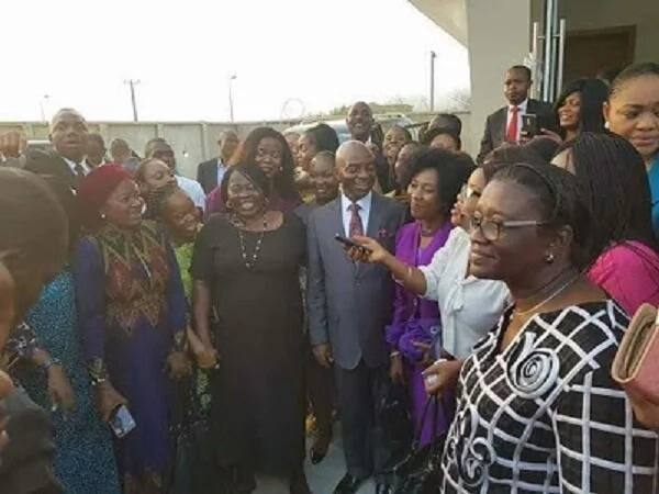 Bishop Oyedepo with members of his church Source: Gistyou