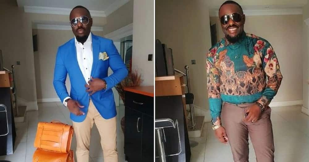 Photos of Jim Iyke in different outfits.
