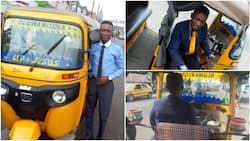 Nigerians react to photos of keke driver who wears suit and offers sweet to his customers in Lagos (video)