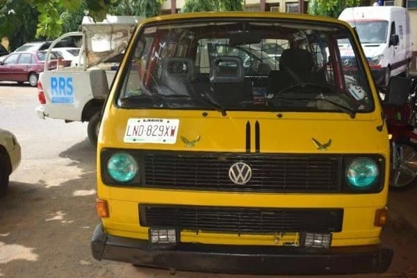 The hijacked bus that was later abandoned by the robbers. Credit: Nigeria Police Force