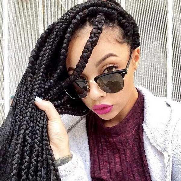Jumbo box braids long hairstyle
