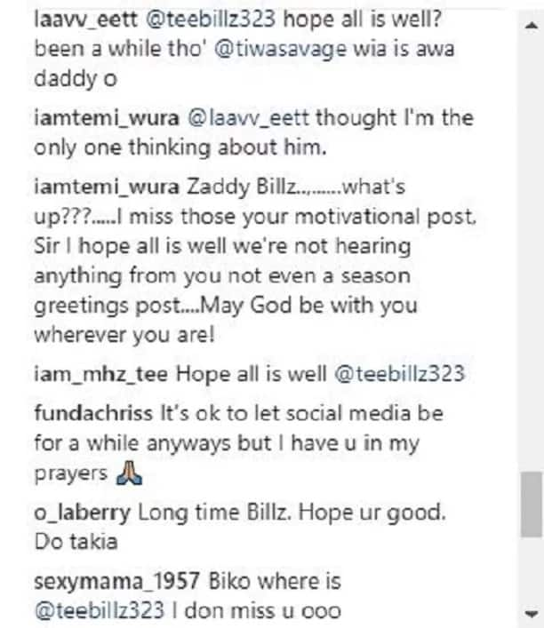 Where have you been? Fans question Tee Billz, Tiwa Savage's husband