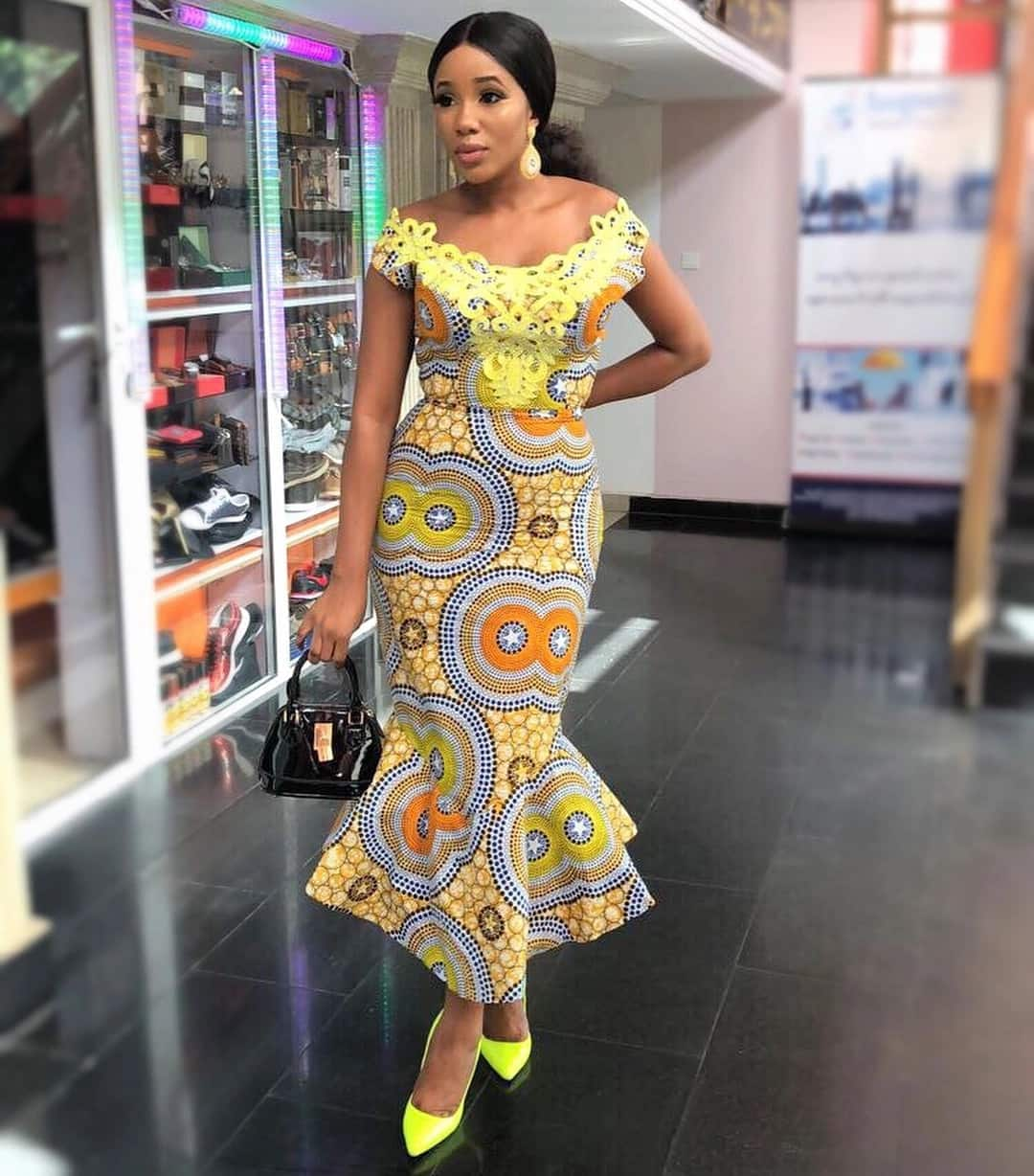 Cold shoulder Ankara evening gown