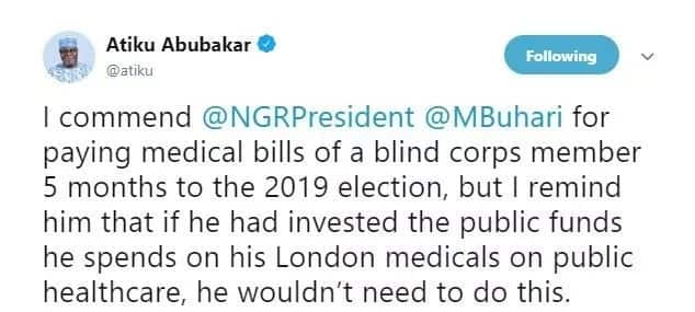 Atiku commends Buhari for pledging to assist blind corps member