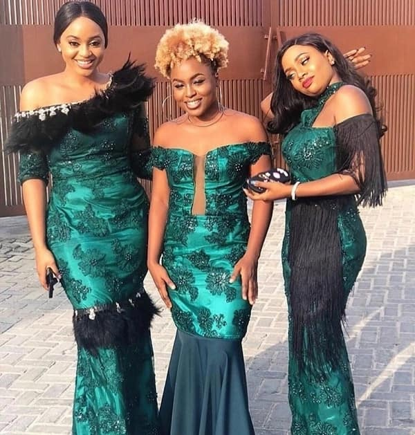 Aso Ebi styles with feathers and fringe
