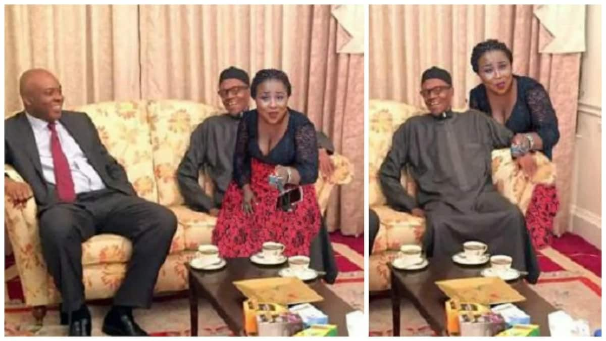 Image result for That photo shopped image of a lady sitting on the lap of Buhari